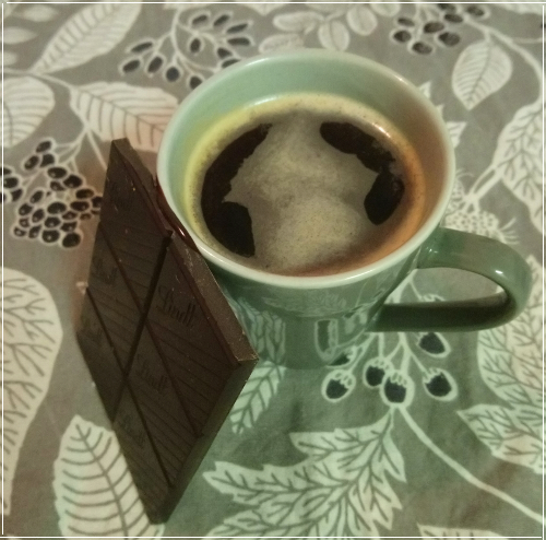 Picture of coffee and chocolate.